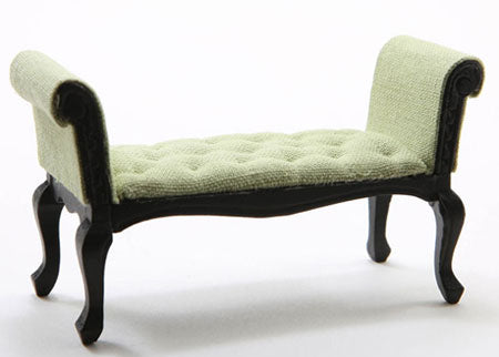 Settee, Black with Soft Green Fabric