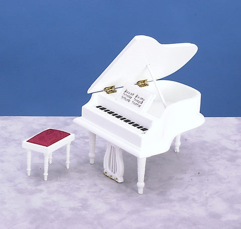 Piano with Bench, White
