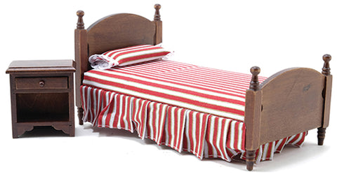 Twin Bed and Night Stand, Walnut with Red and White Stripe
