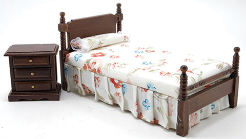Twin Bed and Night Stand, Walnut with Floral Linens