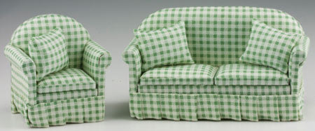 Sofa and Chair Set, Green and White Check