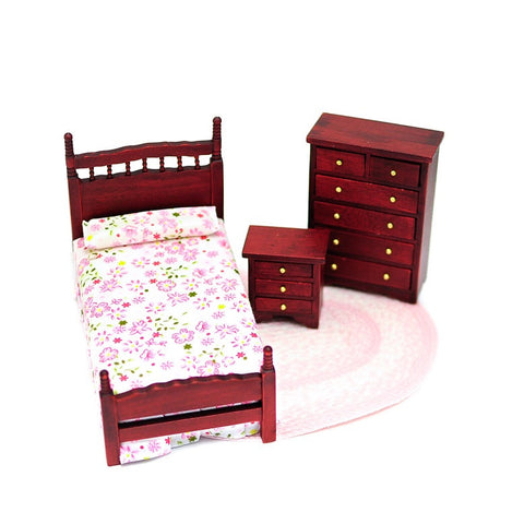 Three Piece Twin Bedroom Set, Mahogany and Pink