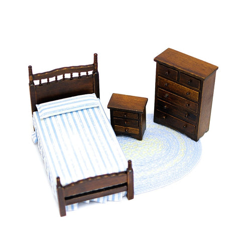 Three Piece Twin Bedroom Set, Walnut and Blue