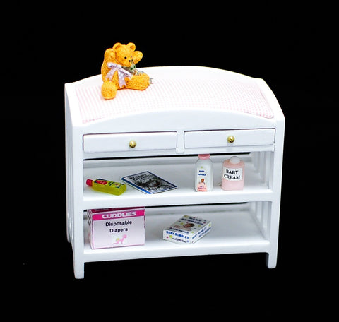 Changing Table with Accessories, White and Pink