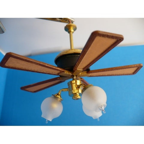 Savannah Working Ceiling Fan, Wicker Blade, Three Light