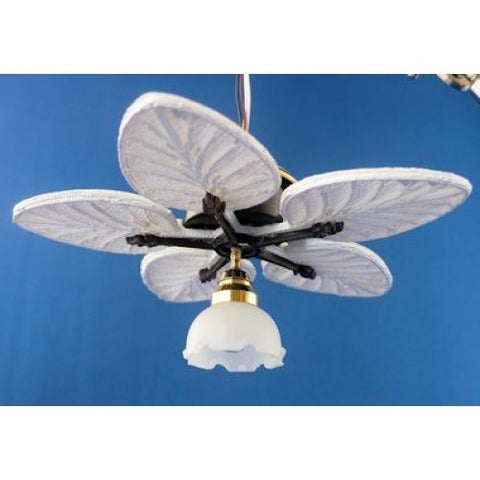 Sabia Working Ceiling Fan, Palm Leaf, Single Light
