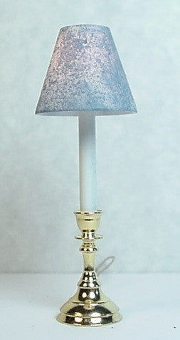 Candlestick Lamp with Hand Painted Shade, Blue