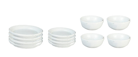 Dishware Set, Four Place Settings with bowls, White