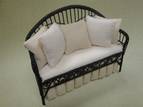 Metal Wicker Daybed Settee, Off White