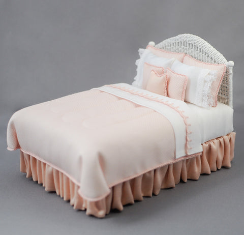 Double Bed, White Wicker and Soft Peach Linens