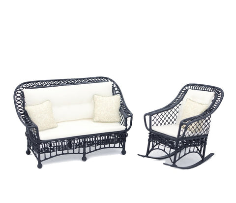 Bar Harbor Wicker Porch Set, Black with Cream
