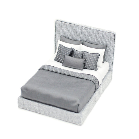 Contemporary Bed, Grey and White