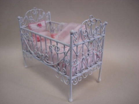 Crib, White Metal Wicker, Pink Linens
