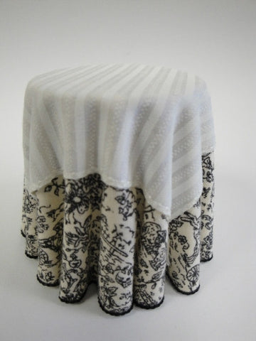 Skirted Table, Black Toile Larger Size