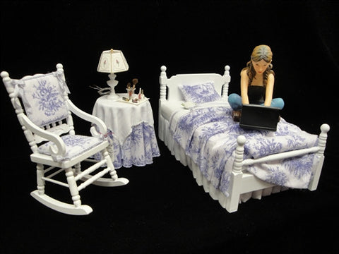 Purple Toile Three Piece Bedroom Set OUT OF STOCK