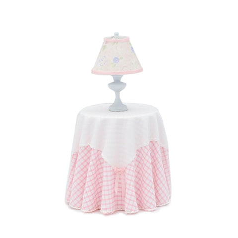 Skirted Table with Lamp, Pink