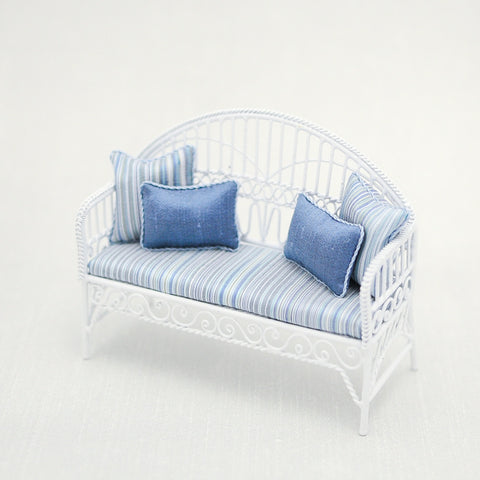 Settee with Blue Silk Fabric