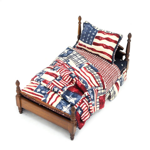 Twin Bed with Flag Theme, Walnut Finish