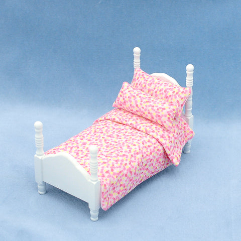 Twin Bed, White with Pink and Yellow Dots