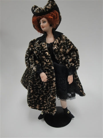 Lady Doll Figure, Leapard Coat
