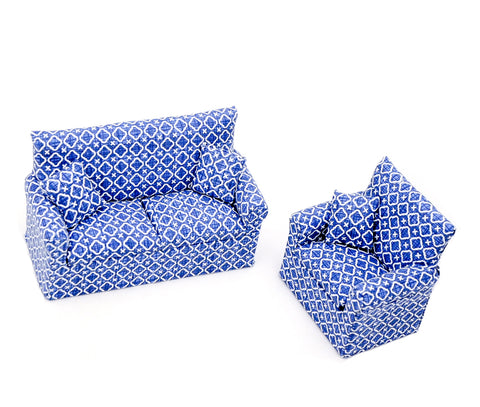 Two Piece Living Room Set, Blue and White
