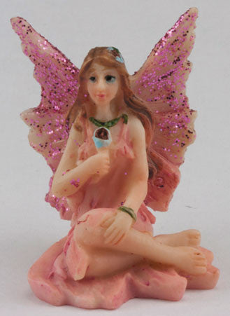 Small Fairy with Legs to Side, Pink Dress