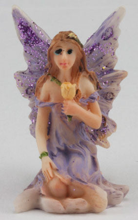 Small Fairy Sitting, Purple Dress