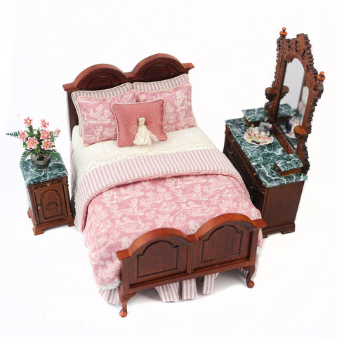 Victorian Style Bedroom Set with Green Marble