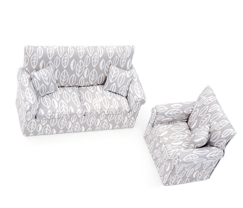 Two Piece Living Room Set, Grey and White