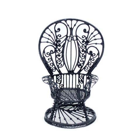 Metal Wicker Chair, Black