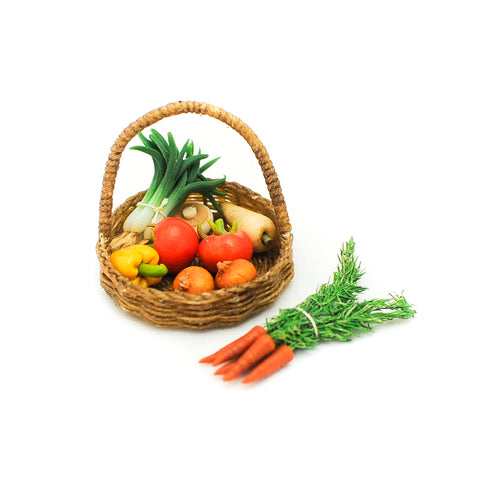 1:12 miniature scale basket of vegetables