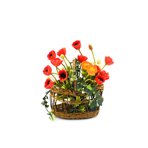 Wicker Basket of Poppies