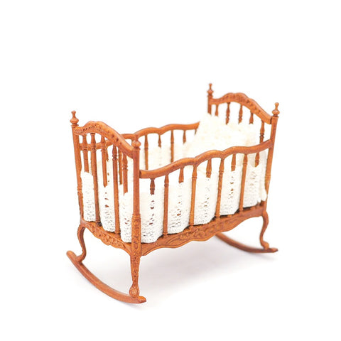 Cradle, New Walnut, White Lace