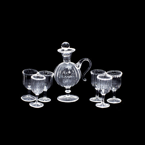 Ribbed Crystal Decanter Set