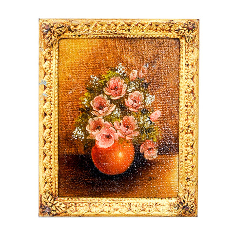 Oil Painting, Vase of Pink Roses