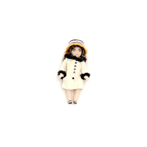 Tiny Doll in White Coat with Fur