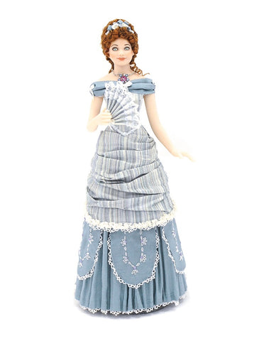 Porcelain Doll, Blue Dress, Fan