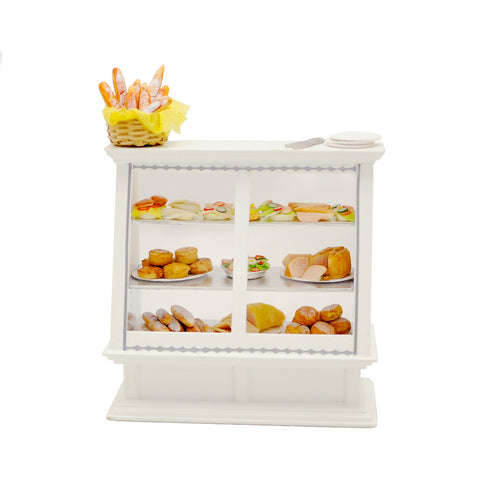 Deli Case Filled with Breads, Cheeses and Meats