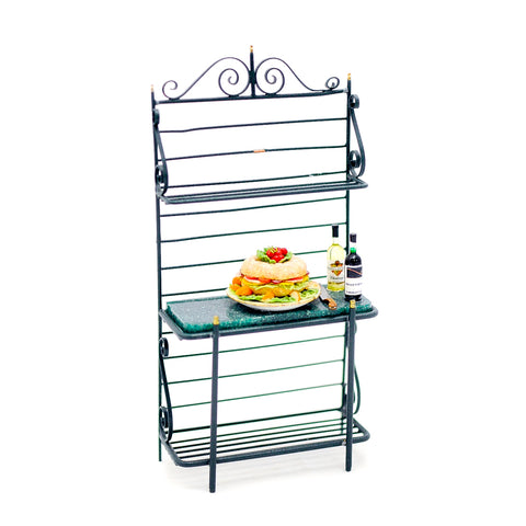 Bakers Rack by Getzan with Wine and Sandwich Ring