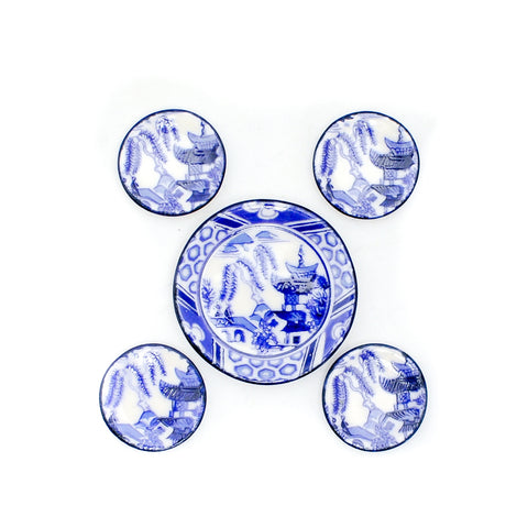 Blue and White Porcelain Dishes by Jerry Floor, Five Piece Set