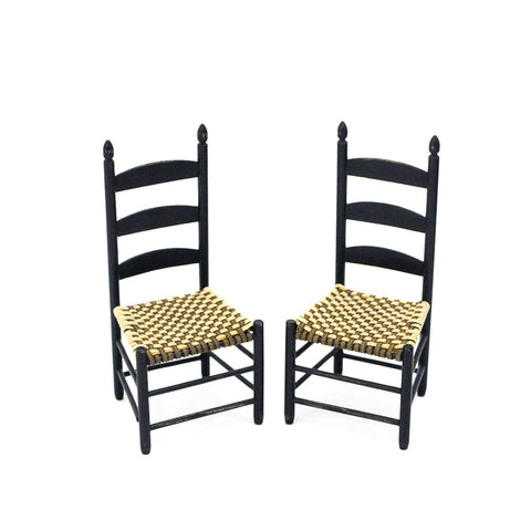Pair of Black Ladderback Chairs