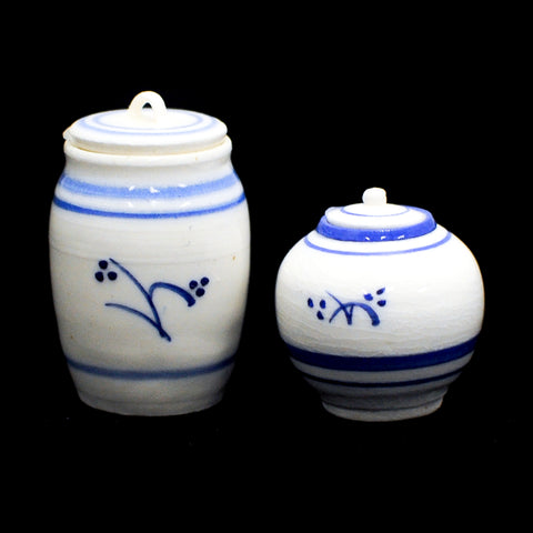 Blue and White Ceramic Jar Set