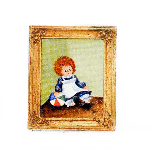 Oil Painting, Raggedy Ann with Ball