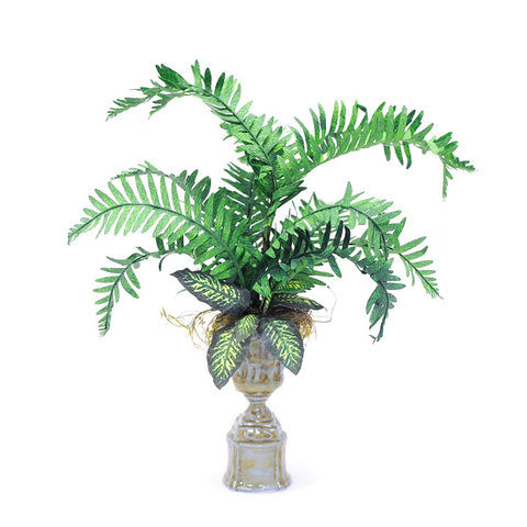 Palm Plant in Tall Green Urn