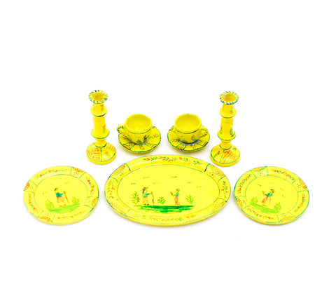 Yellow Quimper French Pottery Set