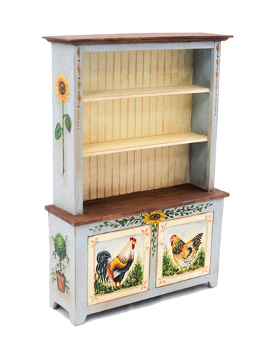 Provincial Hutch, Blue and Cream with Rooster Design