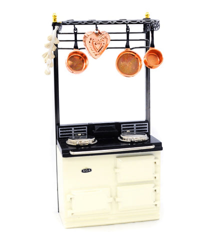 Aga Stove with Pot Rack