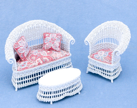 Rhea Strange Three Piece Wicker Set Circa 1880 Style