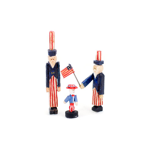 Patriotic Uncle Sam folk art trio