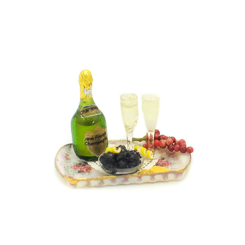 Tray with Champagne and Caviar